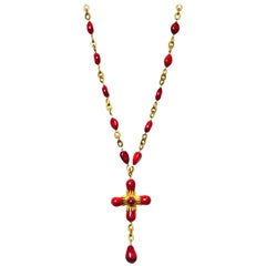 Chanel Red & Goldtone Cross Necklace