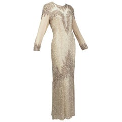 Oleg Cassini Rose Gold Bead and Sequin Illusion Gown, 1990s