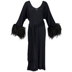 Mr Blackwell Black Ostrich Feather Cuff Midi Dress, 1960s