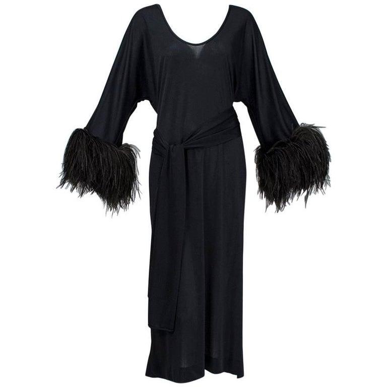 Mr Blackwell Black Ostrich Feather Cuff Midi Dress, 1960s