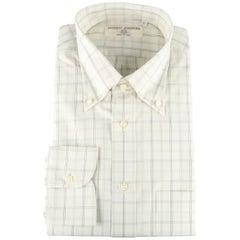 New LUCIANO BARBERA Size L Greenish Beige Window Pane Cotton Long Sleeve Shirt
