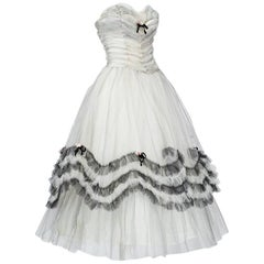 Strapless Black and White Ombré Tulle Party Dress, 1950s