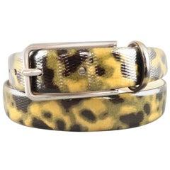 EMPORIO ARMANI Size 32 Olive Camouflage Tortoiseshell Patent Leather Belt