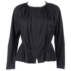 ISSEY MIYAKE Black Gathered Detail Zip Front Jacket