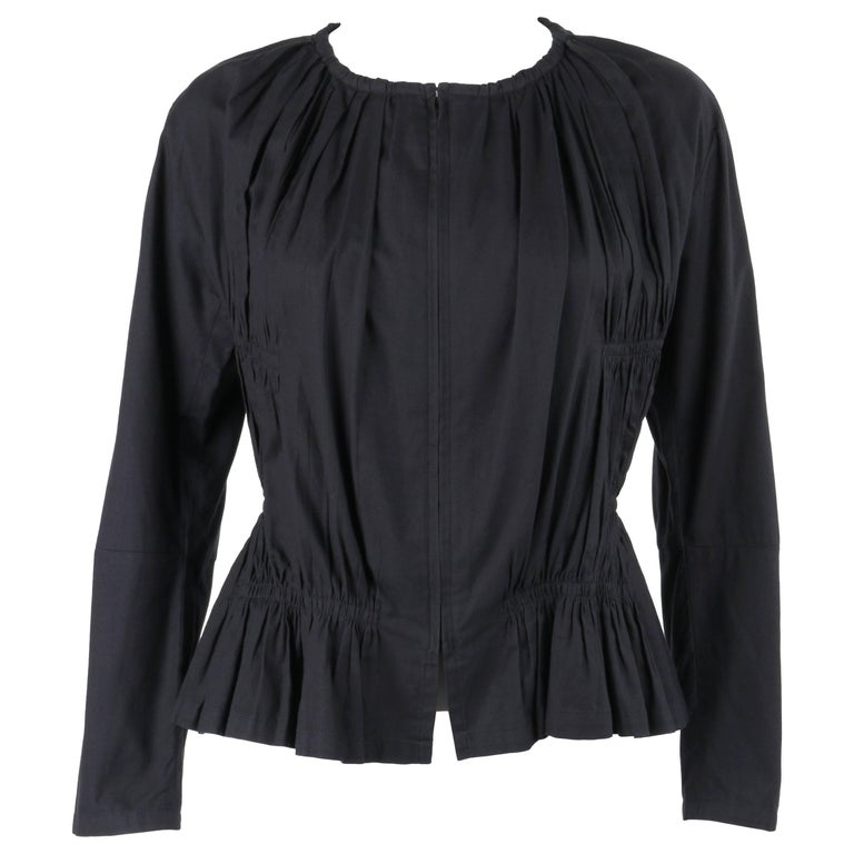 ISSEY MIYAKE Black Gathered Detail Zip Front Jacket For Sale