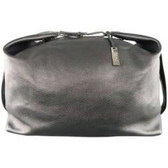YVES SAINT LAURENT Black Leather Large Box Duffle Travel Bag