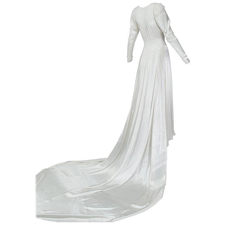 Sheer Hollywood Regency Bias Wedding Gown with Cathedral Train, 1930s
