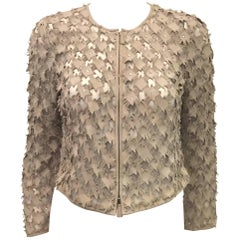 Giorgio Armani Laser-Cut Light Taupe Suede Jacket With Iridescent Rhinestones