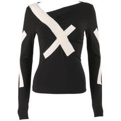ISSEY MIYAKE S/S 2004 Black Jersey Knit Cross Bandage Sweater Top