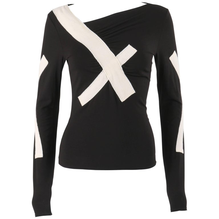 ISSEY MIYAKE S/S 2004 Black Jersey Knit Cross Bandage Sweater Top