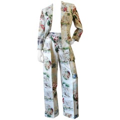 Rare 1980s Moschino Novelty Printed Rome Suit Set