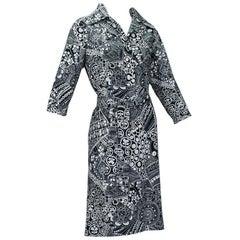 Lanvin Black and White Abstract Print Shirtwaist Dress, 1970s