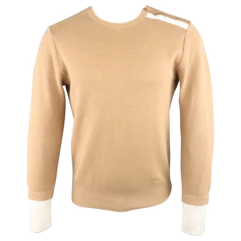 men 39 s emporio armani size xs tan and gray solid wool cotton zip pullover for sale at 1stdibs. Black Bedroom Furniture Sets. Home Design Ideas