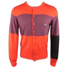 Men's VIVIENNE WESTWOOD Size S Red & Purple Color Block Stripe Wool Cardigan