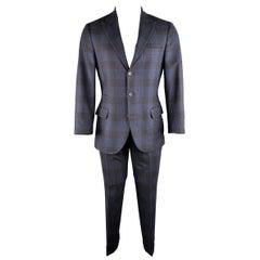 BRUNELLO CUCINELLI 36 Regular Navy Plaid Wool / Cashmere / Silk Peak Lapel Suit
