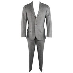 BRUNELLO CUCINELLI 36 Grey & Navy Plaid Wool / Cashmere / Silk Notch Lapel Suit