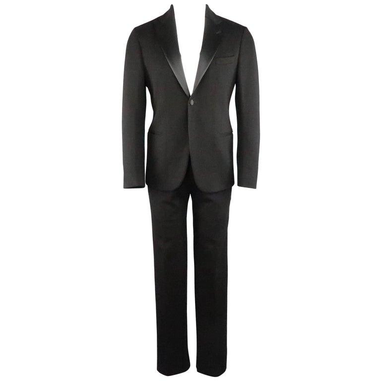 New GIORGIO ARMANI 38 Regular Black Jersey Satin Tuxedo Suit- Retail $3,195.00 For Sale