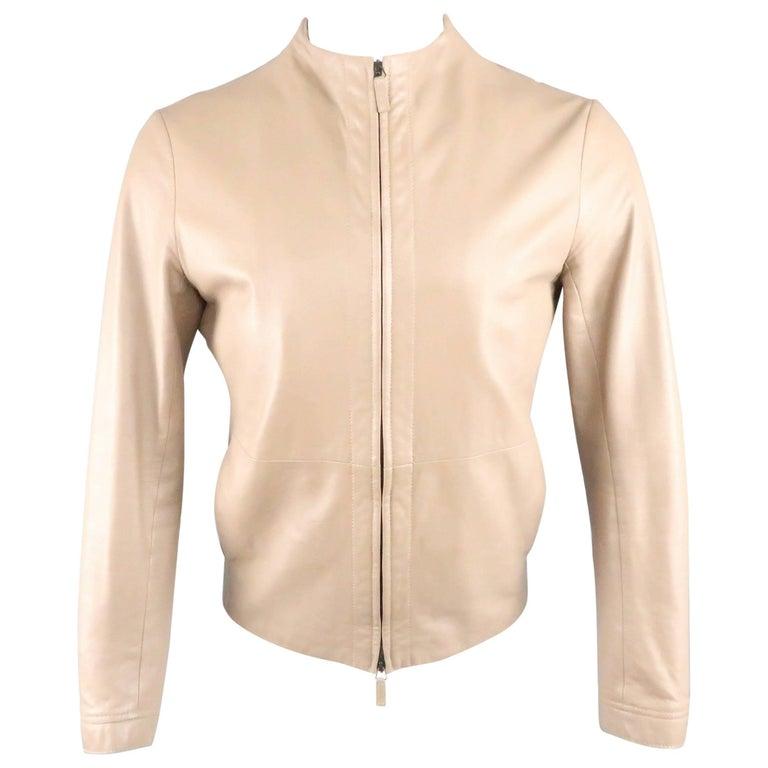 c2dea8b8640fc Men s GIORGIO ARMANI 38 Taupe Perforated Leather Collarless Jacket For Sale