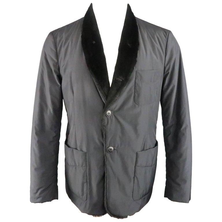 Men's GIORGIO ARMANI 38 Black Fur Lined Nylon Shawl Collar Jacket