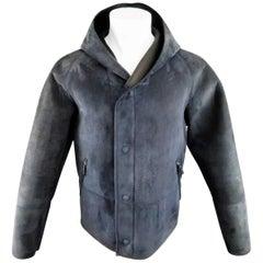 Men's GIORGIO ARMANI 38 Navy Neoprene Bonded Nubuck Hooded Jacket