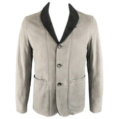 Men's ARMANI COLLEZIONI 40 Slate & Black Leather Shearling Trim Jacket