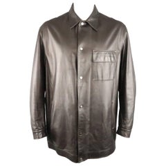 Men's VALENTINO 46 Brown Leather Silver Snap Collared Shirt Jacket