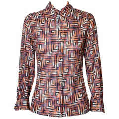 CHRISTIAN DIOR 1970s Graphic Silk Shirt