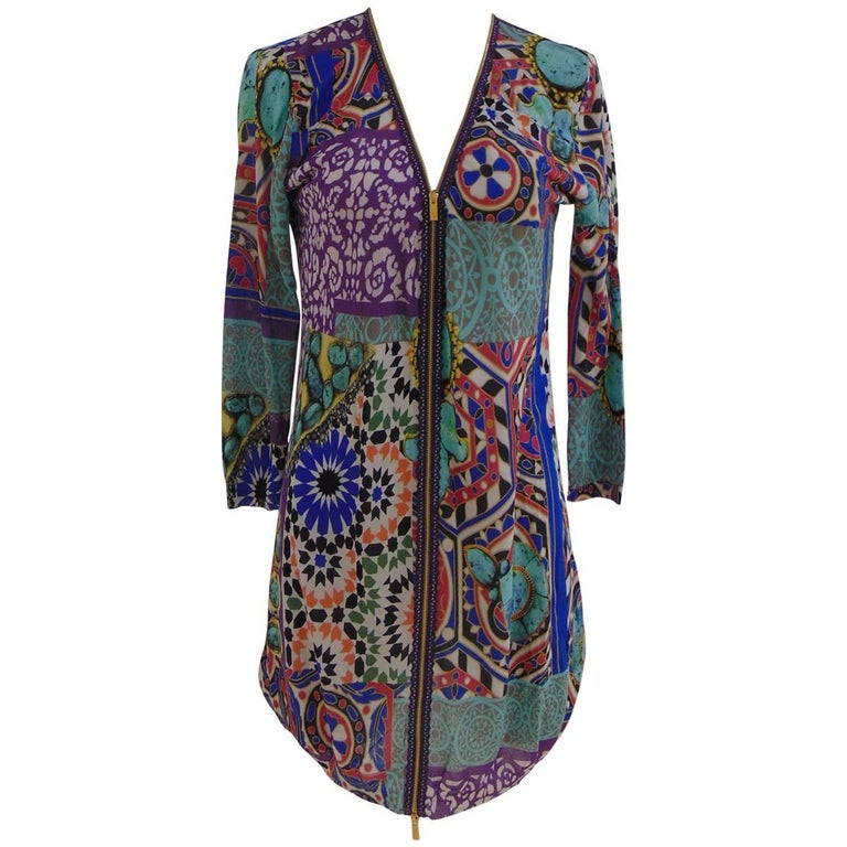 Blumarine light blu multicoloured silk zip dress