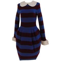 Stella Jean blu bordeaux stripes dress with neck and cufflinks