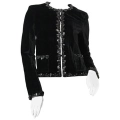 Chanel Short Black Velvet Blazer
