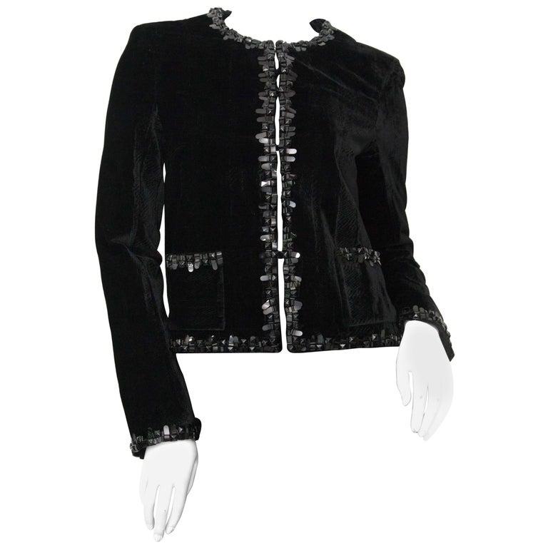Chanel Short Black Velvet Blazer For Sale at 1stdibs