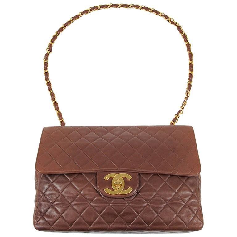 Vintage CHANEL brown lamb large, jumbo shoulder bag with gold CC, single strap.