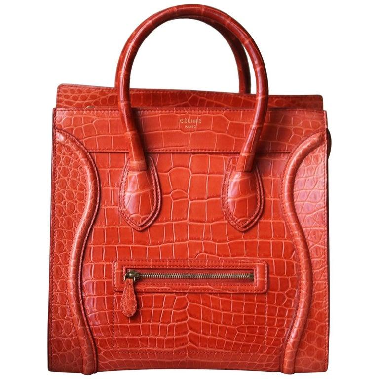 6f43667109 Céline Orange Crocodile Luggage Bag With Gold H W For Sale at 1stdibs