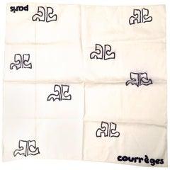 Courreges Scarf - VINTAGE 1960's - 100% Cotton - Rare