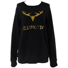 Leitmotiv logo black and gold tone sweater