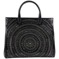 Alaia Snap Tote Grommet Embellished Leather Medium