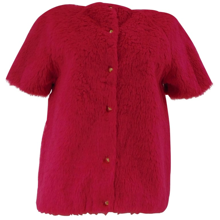 Leitmotiv faux fucsia fur silver tone short sleeves jacket NWOT
