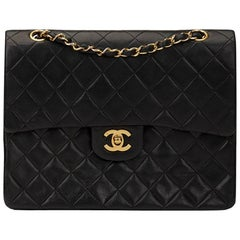 1997 Chanel Black Quilted Lambskin Vintage Medium Tall Classic Double Flap Bag