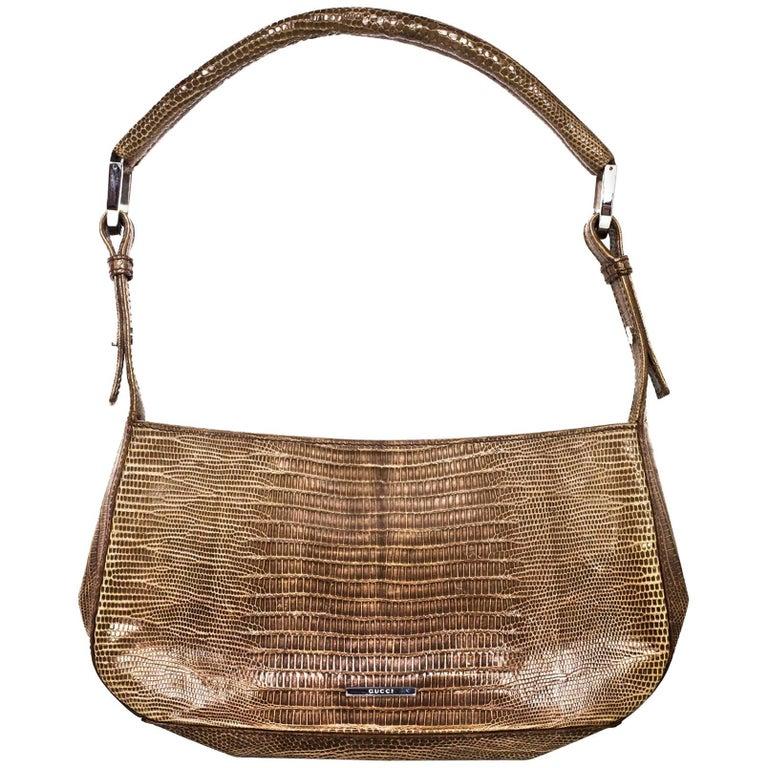 Gucci Taupe Lizard Pochette Bag