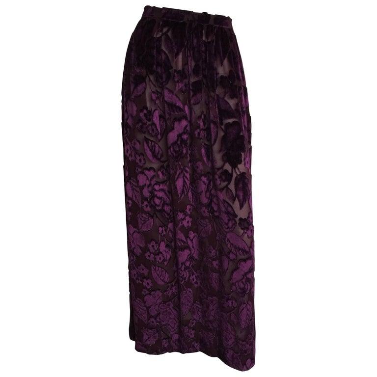 Jewel tone purple velvet floral maxi skirt