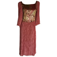 Mary McFadden dusty pink and gold velvet dress