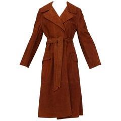 Cinnamon Lambskin Suede Midi Trench Coat, 1970s
