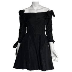Bill Blass Black off the shoulder bow dress