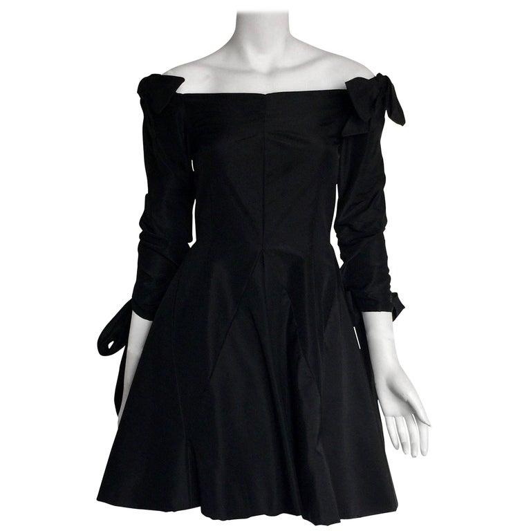 Bill Blass Black off the shoulder bow dress