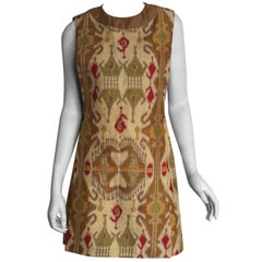 Pierre Cardin ethnic printed silk shift dress