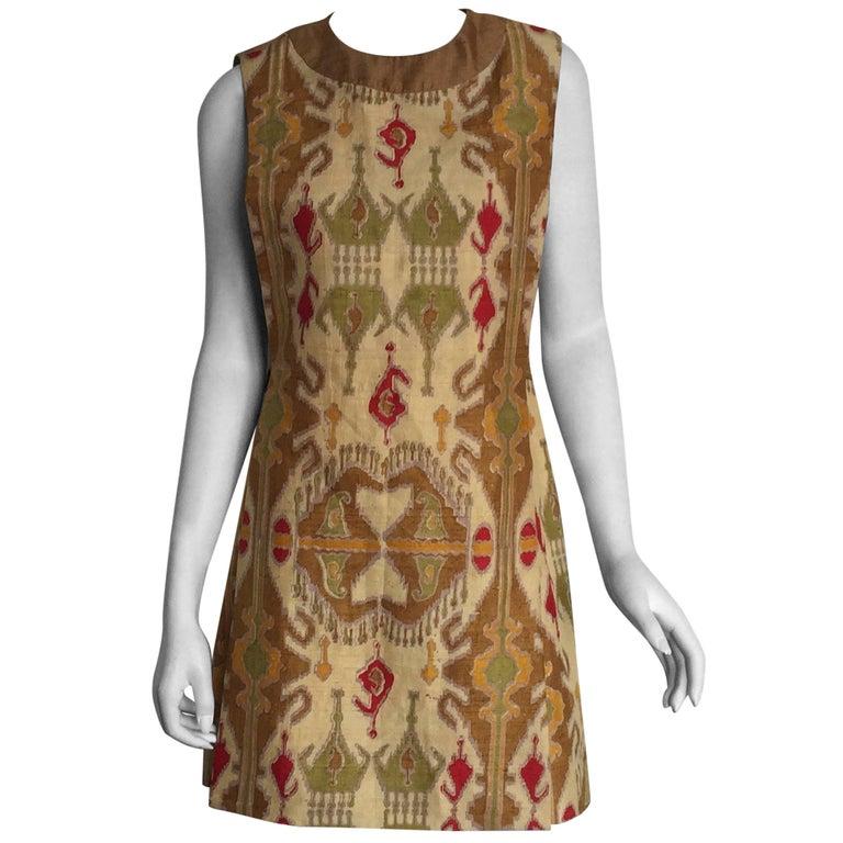 Pierre Cardin ethnic printed silk shift dress