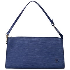 Louis Vuitton Blue Epi Leather Pochette Bag