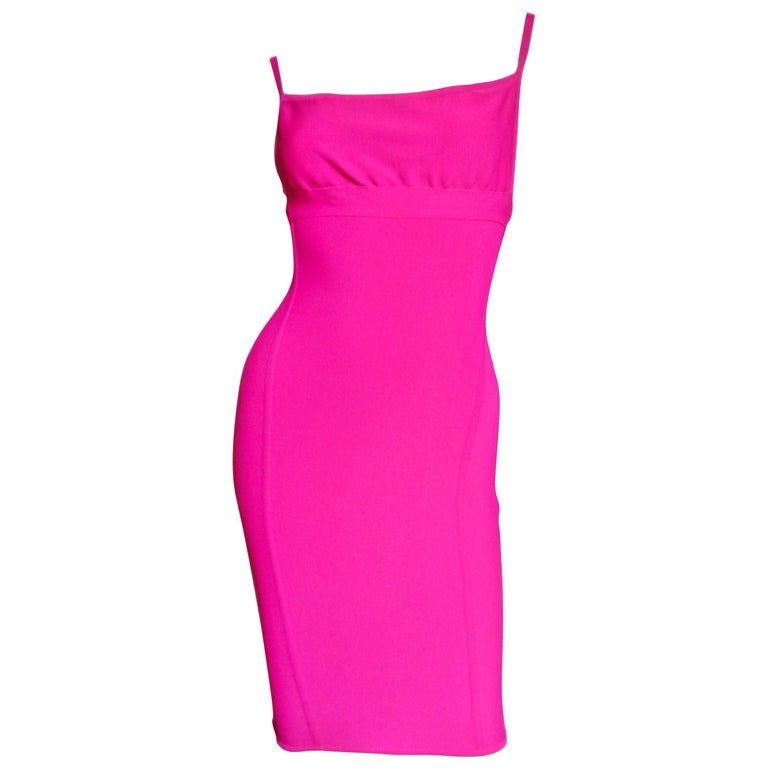 1990s Herve Leger Hot Pink Bodycon Dress