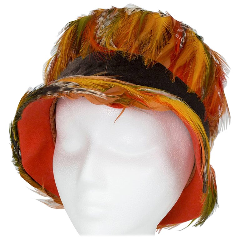 Pumpkin Ostrich and Pheasant Feather Cloche Hat, 1960s