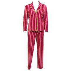 1960s Gino Paoli Raspberry and Gold Lurex Vertical Stripe 3pc. Knit Suit